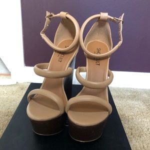 Nasty Gal Shoe Cult Tease Nude Leather Sandal